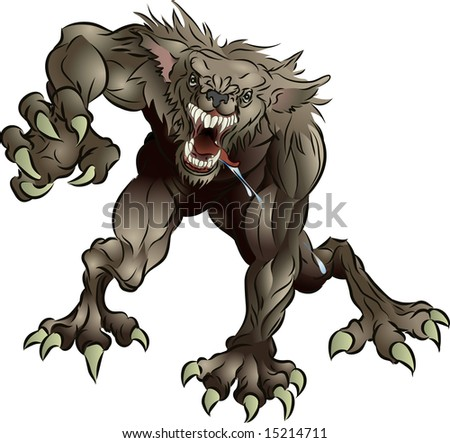 A mean snarling scary werewolf attacking the viewer - stock photo