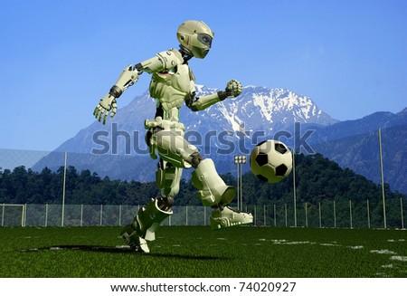 A mechanical robot ran on the green grass. - stock photo