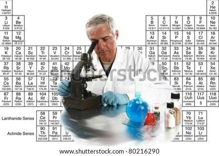 "a medical research scientist or chemist works on a cure for something to help mankind. isolated on white with room for your text, with the ""periodic table of chemical elements"" in the background. - stock photo"