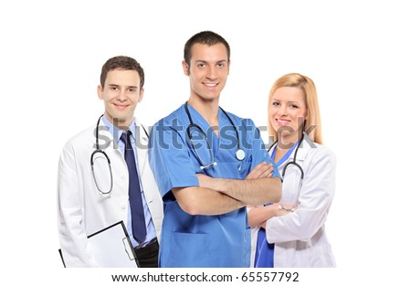 A medical team of doctors, men and woman, isolated on white background - stock photo