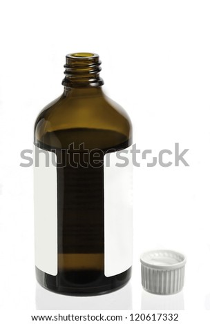 a medicine bottles is isolated against a white background - stock photo