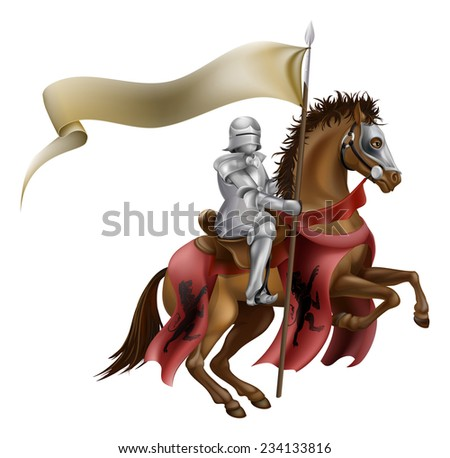 A medieval knight in armor riding on horseback on a brown horse holding a flag or banner - stock photo