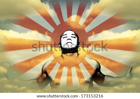 A meditating man emitting enlightenment rays in a dreamy cloudy atmosphere for the concept of zen from meditation. - stock photo