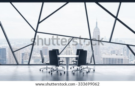 A meeting room in a bright contemporary panoramic office space with New York city view. The concept of highly professional financial or legal services. 3D rendering. - stock photo
