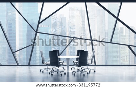 A meeting room in a bright contemporary panoramic office space with Singapore city view. The concept of highly professional financial or legal services. 3D rendering. - stock photo