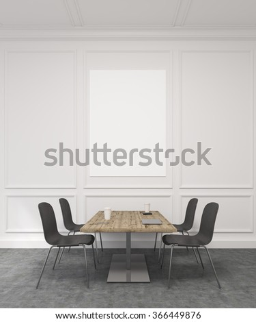 A meeting room with a wooden table in the centre, four black chairs around it. White wall at the background with a white blank frame. Concept of negotiations. 3D rendering - stock photo
