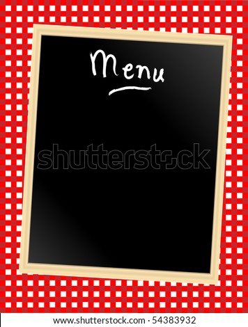A menu card chalkboard on gingham background. Space for text. - stock photo