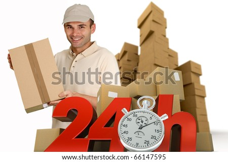 A messenger delivering a parcel with 24 hrs and a chronometer - stock photo