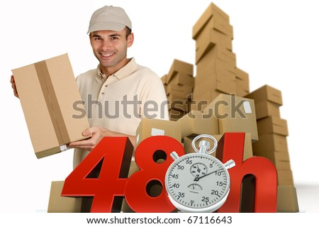 A messenger delivering a parcel with 48 hrs and a chronometer - stock photo