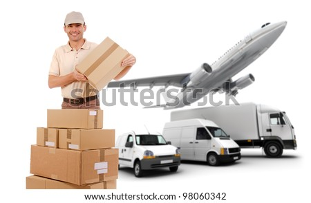 A messenger, packages and a transportation fleet - stock photo