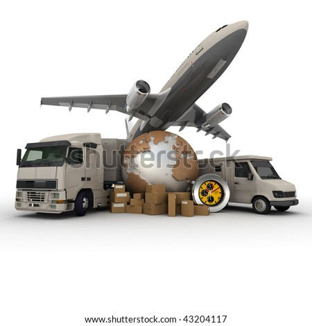 A messenger with a world map, a van, a truck and an airplane as background - stock photo