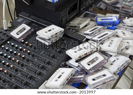 A messy sound studio - stock photo