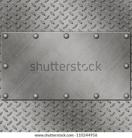 A Metal Background with Tread Plate and Rivets - stock photo