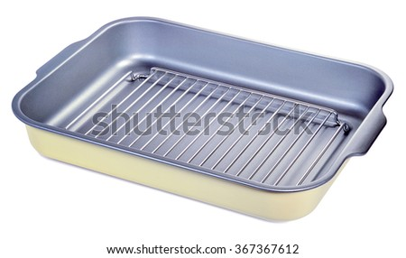 A metal baking tray with a grate and stainless steel with grey non-stick coating isolated on white - stock photo