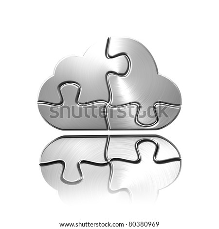A metal cloud computing jigsaw - stock photo
