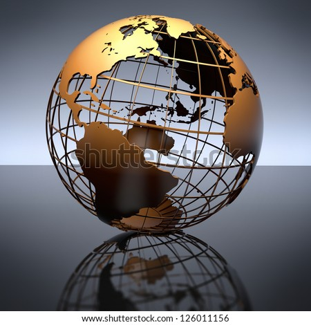 A metal globe on a reflective studio background. Includes clipping path. - stock photo