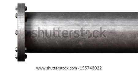 A metal pipe with a blank flange shutting off the end on an isolated studio background - stock photo