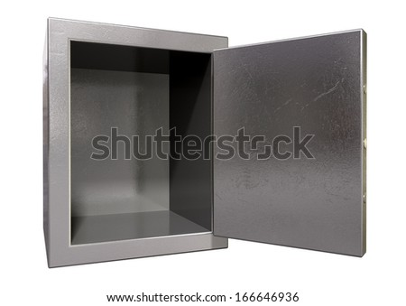A metal safe with empty space inside on an isolated white background - stock photo