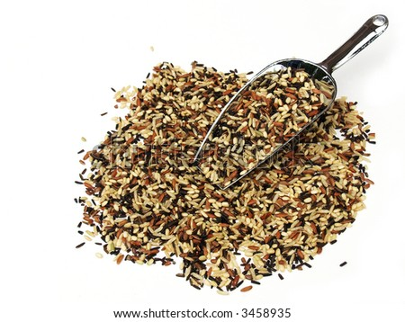 A metal scoop with brown and wild rice mixture - stock photo