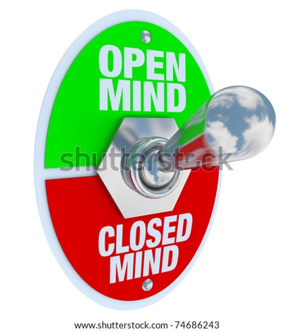 A metal toggle switch with plate reading Open Mind and Closed Mind, flipped into the Open-Minded position, symbolizing the decision to be tolerant of differences - stock photo