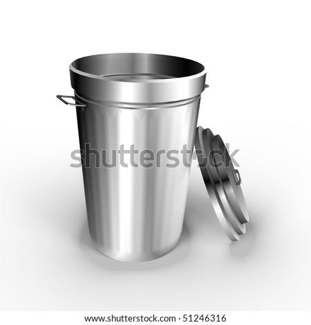 A metallic trash can - a 3d image - stock photo