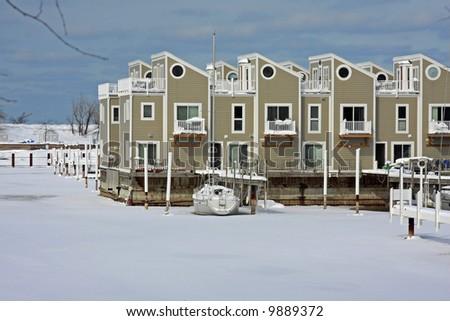 A Michigan Harbor in the Winter - stock photo
