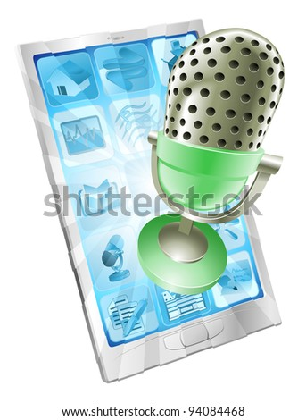 A microphone flying out of phone screen. Concept for anything relating to online or computer recordings or music - stock photo