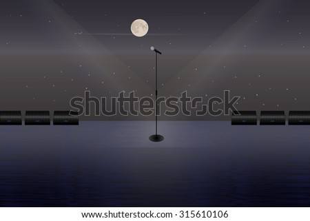 A microphone on a stage in the open air. Illustration. - stock photo
