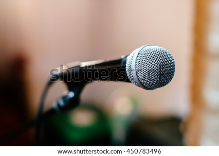 A microphone on stage