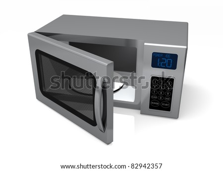 A Microwave oven with an open door isolated on a white background.