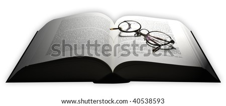 A mid sized book with glasses. - stock photo