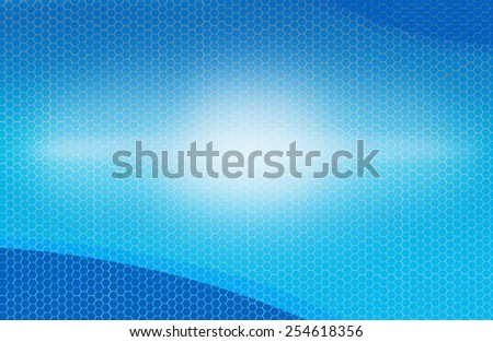 A Middle Explosion of Light Effect on a Cool Blue Background with a Beehive-looking patterns. - stock photo