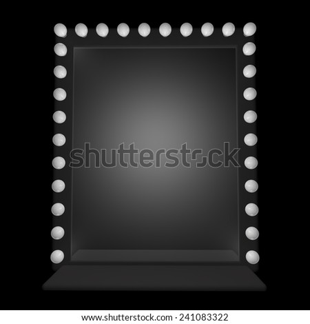 A mirror with bulbs around, 3d render - stock photo
