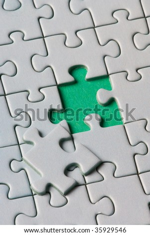 A missing piece in a jigsaw puzzle - stock photo