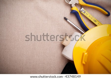a mix of construction tools with copy space - stock photo