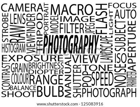 A Mixture of Photography Descriptions Cloud Concept - stock photo