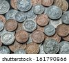 A mixture of UK coins background. - stock photo