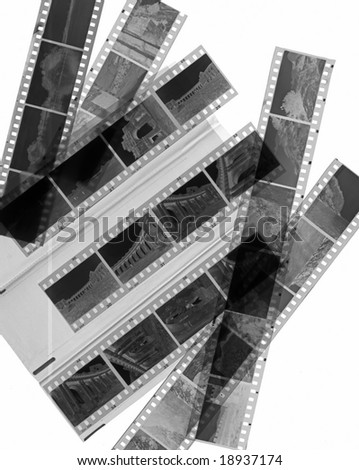 A 35mm contact sheets strip of black and white negative film with my photos - stock photo