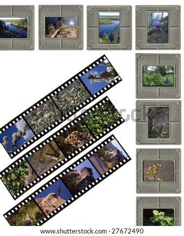 A 35mm contact sheets strip of slide film with my photos. - stock photo