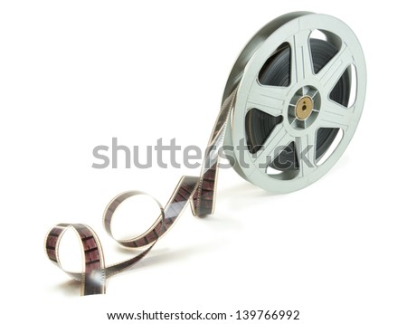 A 35mm film in a reel, isolated over white, with clipping path that excludes shadows.