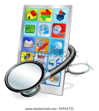 A mobile phone or tablet pc with stethoscope wrapped round it. Health check concept - stock photo