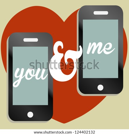 A mobile phone Valentine text message illustration - stock photo