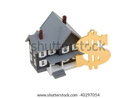 A model house with a dollar symbol on a white background, mortgage help - stock photo