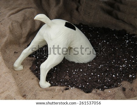A Model of a Dogs Head Digging in a Pile of Soil. - stock photo