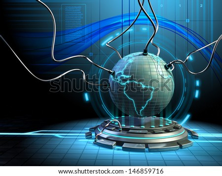 A model of the Earth connected to some cables in a futuristic environment. Digital illustration. - stock photo
