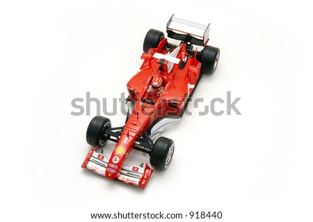 A model of the Ferrari Formula 1 car. - stock photo