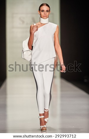 A model walks on the Maison SAS catwalk. FALL 2015. MERCEDES-BENZ FASHION WEEK RUSSIA. 27 March 2015, Moscow, Russia. - stock photo