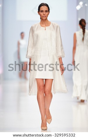 A model walks on the NATALIA GART catwalk. Spring/Summer 2016. FASHION WEEK in MOSCOW. 17 October 2015, Moscow, Russia.
