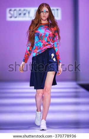 "A model walks on the ""SORRY, I'M NOT"" catwalk. Spring/Summer 2016. FASHION WEEK in MOSCOW. 16 October 2015, Moscow, Russia."