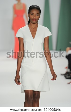 A model walks the runway at the Carolina Herrera fashion show during Mercedes-Benz Fashion Week Spring 2015 at The Theater at Lincoln Center on September 8, 2014 in New York City. - stock photo